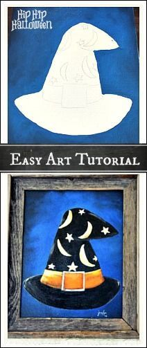 Halloween Art Projects - Paint a Witch's Hat on Canvas Halloween Art Projects, Halloween Painting, Halloween Decorations, Halloween Canvas Paintings, Fall Paintings, Canvas Crafts, Diy Canvas, Canvas Art, Canvas Ideas