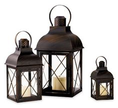 Had these at our wedding - want more for our house!  Antiqued Tin Lanterns