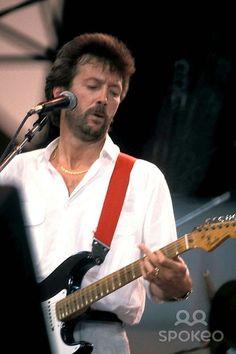 Live Aid Concert at Veterans Stadium Philadelphia Eric Clapton Liveaidretro Live Aid, The Yardbirds, Blind Faith, Guitar Pics, Dead Poets Society, Eric Clapton, Pop, Rolling Stones, Good Music