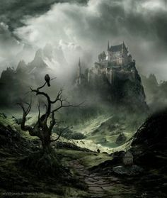 Discover ideas about fantasy castle Fantasy City, Fantasy Castle, World Of Fantasy, Fantasy Places, Dark Fantasy, Fantasy Art Landscapes, Fantasy Landscape, Landscape Art, Fantasy Concept Art