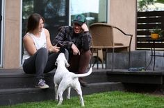 Erin and Eric with Coconut in the backyard of their home in Venice, California (2014).