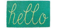DII Indoor/Outdoor Natural Coir Easy Clean Rubber Non Slip Backing Entry Way Doormat For Patio, Front Door, All Weather Exterior Doors, 18 x - Aqua Hello Outdoor Doors, Outdoor Rugs, Indoor Outdoor, Outdoor Living, First Apartment Essentials, Apartment Checklist, Apartment Ideas, Hello Design, Front Door Mats