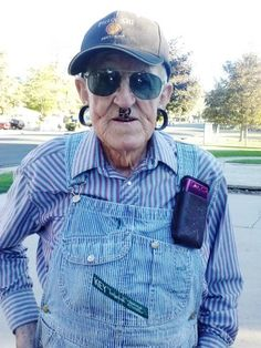 """""""This is Steve. He is the most interesting person I have ever met. He is a farmer. He has around 13 facial piercings, he was in the Korean war, he gets in his tractor every time it snows and plows my neighborhood and a few others, he brings my neighbors and I fresh food from his garden, and he's a sheep herder. He is constantly helping people out with yard work and anything else they need help with. He never takes a break. He is probably the nicest guy you'll ever meet!"""" sooo awesome!"""