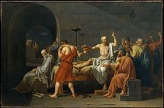 Jacques Louis David The Death of Socrates, , Metropolitan Museum of Art, New York. Read more about the symbolism and interpretation of The Death of Socrates by Jacques Louis David. Jacque Louis David, Grands Philosophes, Papua Nova Guiné, History Of Philosophy, Western Philosophy, Art Occidental, Ancient Greece, Metropolitan Museum, Les Oeuvres