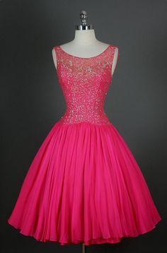 Bright pink prom dress