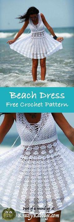 Crochet Summer Dresses, Summer Dress Patterns, Crochet Skirts, Crochet Gratis, Free Crochet, Beach Crochet, Hat Crochet, Crochet Baby, Crochet Tops