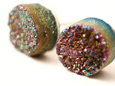 Boho Earrings - Sparkling Moon - Rainbow Colorful Raw Druzy Round Titanium Stud Earrings - Post, Jewelry, Hippie, Hipster, Bridesmaids Gift
