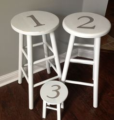cute refurbished upcycled painted bar stools