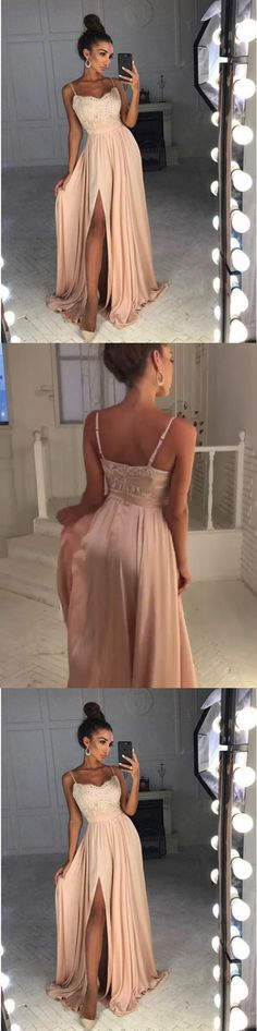 A-Line Spaghetti Straps Sweep Train Pink Satin Prom Dress with Appliques Split G345#prom #promdress #promdresses #longpromdress #2018newfashion #newstyle #promgown #promgowns #formaldress #eveningdress #eveninggown #2018newpromdress #partydress #meetbeauty #aline #spaghettistrap #satin #applique #split