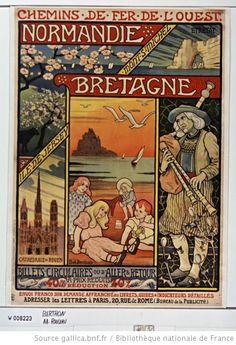 Affiche des chemins de fer de l'Ouest.pour la promotion conjointe de la Normandie et de la Bretagne. Vers 1900. Auteur : Paul Berthon