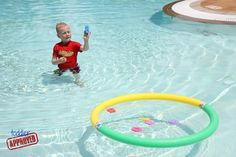 So smart: Ideas for math games kids can play in the pool with little more than a hoop or pool noodles, and some foam numbers.