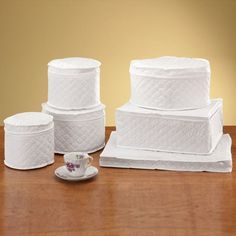Dinnerware Storage Cases From Miles Kimball Protects Your China. Set Of 6  Quilted Vinyl China Dinnerware Storage Chests Hold A Complete Service For