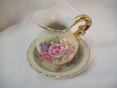 Vintage Lefton China Hand Painted Pitcher and Saucer  roses #6629