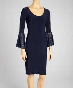 Take a look at this Navy Bell-Sleeve Dress by SHE on #zulily today!