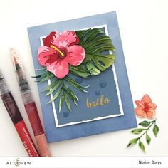 card flower Hibiscus Garden Die Set — Altenew layered flower and leaves die set, tropical leaf monstera, palm leaf Hibiscus Garden, Blue Hibiscus, Hibiscus Flowers, Hibiscus Bouquet, Hibiscus Rosa Sinensis, Altenew Cards, Scrapbook Paper Crafts, Paper Crafting, Small Flowers