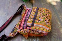 Colorful Orange Ethnic Hmong Embroidered Cross Body Messenger Bag Tote