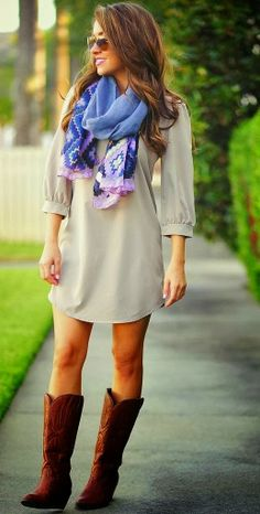Adorable Grey Dress With Blue Scarf and Boots