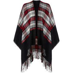 Vero Moda Woven tassle tartan cape (1.930 RUB) ❤ liked on Polyvore featuring outerwear, black, women, tartan cape coat, cape coat, vero moda, tartan cape and plaid cape
