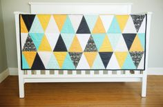 "Triangle Quilt, Turquoise, Mustard, Charcoal & White Hues - ""The Samantha"""