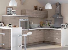 Petite cuisine bois / plan de travail blanc (Castorama)