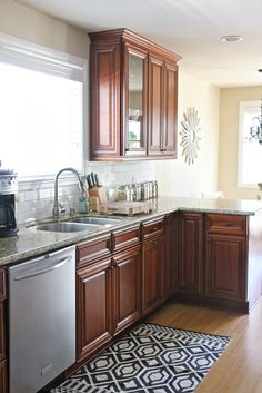 navy and white accent in cherry wood kitchen