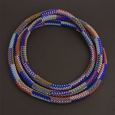 Miyuki and Toho seed bead crochet necklace by Elaine Felhandler
