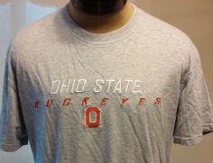 OHIO STATE BUCKEYES University Gray Graphic T-Shirt Size L 100% Cotton #JAmericaSportswear #GraphicTee