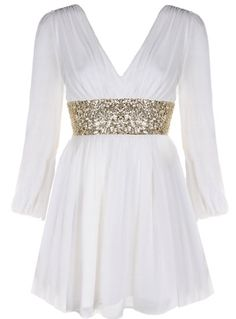 Roman Holiday Dress: Features an elegant wrap-style bodice framed by long airy chiffon sleeves, double deep V-neckline, glittering gold sequin banding at waist, and a graceful gathered skirt to finish.