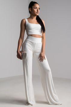 be9a582e4d3ff AKIRA High Rise Stretchy Waist Wide Leg Soft Pants in White