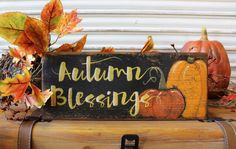 Fall Decor Wood Sign Autumn Blessings Wood Sign by TinSheepShop