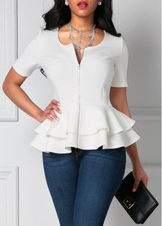 White Short Sleeve Zip Front Peplum Top