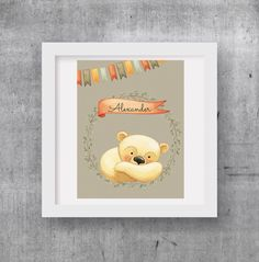 Customized Little Bear with your child's name,kids and baby decor,wall decor,digital print by RapposWorld on Etsy