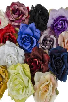 Poly Silk Roses Flower Pins in 23 Color Choices for Girls Dresses