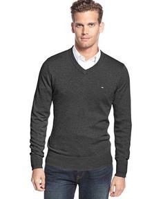 Tommy Hilfiger Big & Tall Men's Signature Solid V-Neck Sweater - Tommy Hilfiger - Men - Macy's