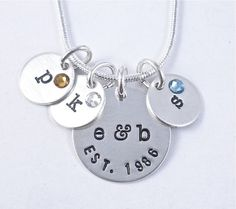 LOVE this! Family Necklace  hand stamped sterling silver by BarbFredinDesigns, $53.00