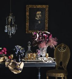 Eerie Inspiration to Spookify Your Space Dark Interiors, Beautiful Interiors, Beautiful Homes, Color Inspiration, Interior Inspiration, Deco Baroque, Dark House, Shades Of Black, Your Space