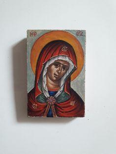 Παναγία, By Aggeliki Papadomanolaki I Icon, Christian Art, Byzantine, Cover, Catholic Art