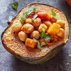Need a new way to cook winter squash? Use it as an edible bowl and fill it up with this delicious vegetarian chickpea filling. #DinnerTonight
