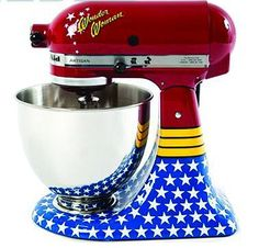 """This Wonder Woman KitchenAid stand mixer is for the superheroes that make your world a sweeter place. It's part of the Colecao """"My KitchenAid"""" collection distributed in Brazil. Other designs in the series include a black mixer with a white"""