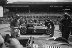 Juan Manuel Fangio prepares for the start of the German Grand Prix