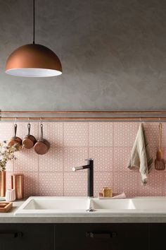 II copper and pink II kitchen tiles, copper pendent