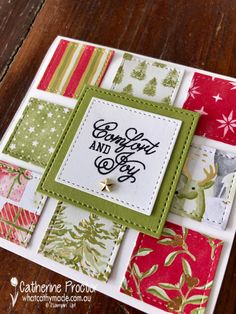 Stampin' Up! The Most Wonderful Time Product Medley Christmas Cards To Make, Xmas Cards, Handmade Christmas, Holiday Cards, Christmas Crafts, Square Card, Winter Cards, Card Sketches, Paper Cards
