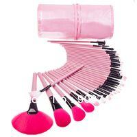 Maquillaje ROSA Pro Kit de cepillo cosméticos pincel 32 piezas Set de maquillaje 32 piezas pincel de cosmética herramientas Kit con cerdas de color rosa