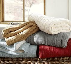 Cozy Cable Knit Throw #potterybarn  Red with gold, white, grey and dark grey colors!!!