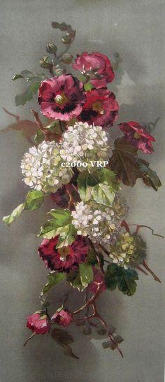 Print FREE SHIP Hydrangeas and Hollyhocks by VictorianRosePrints, $11.99