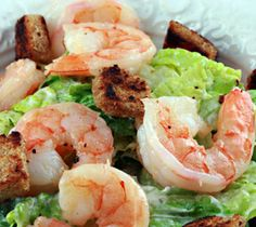 Cooking Caesar salad with shrimp, another type of this popular salad..Seafood is very good for health.In particular ,they contain iodin and protein.Shrimp add to Caesar salad a unique taste, inherent only to seafood.