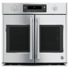 The General Electric Café ™ Series professional self-cleaning single wall European mode convection oven with French doors and windows, electronic diecast control knobs, digital display and halogen inner lighting.