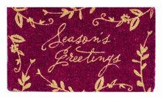 """Tag 18-Inch-by-30-Inch Red Holiday Coir Mat, Season's Greetings by Tag. $27.69. Tag brings you the best in holiday and everyday décor. Red coir mat welcomes guests and adds a spot of color to your décor. Mat measures 18 inches by 30 inches; bleached coir with pigment dyes. Best maintained under protected area; shake or brush clean. Mat features the words """"Season's Greetings"""" and is accented with images of branches and leaves. Welcome guests at the door or add a spot ..."""