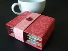 Tea Gift Box Holder for 4 Tea Bags Fun and by PapermadebyK on Etsy
