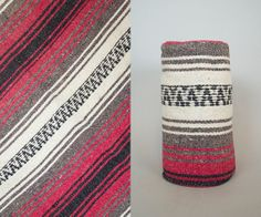 "vintage 1980s striped MEXICAN tribal SOUTHWESTERN ethnic throw BLANKET serape, 86"" x 51"""